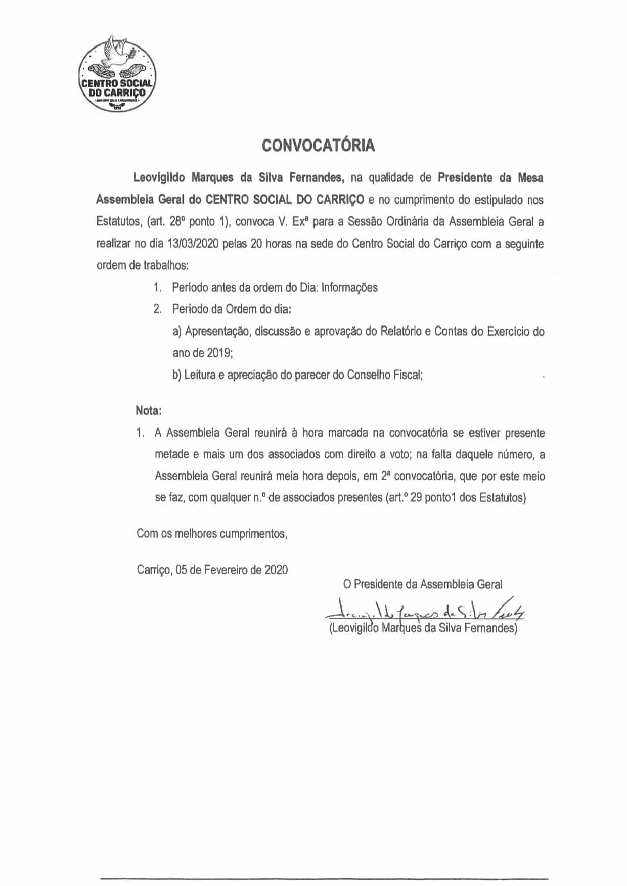 Convocatória para Sessão Ordinária da Assembleia Geral 13/03/2020